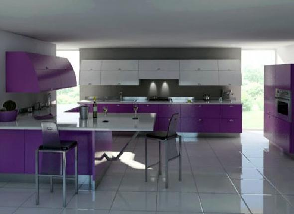 Modern Gray And Violet Kitchen Furniture