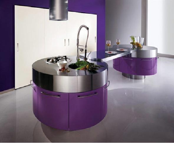 Modern Violet Kitchen With Cylindrical Fan Above Stainless Steel Countertop