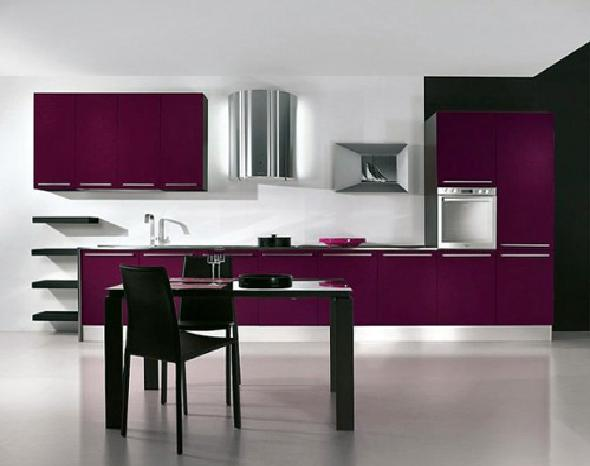 Purple eat in kitchen with modern appliances