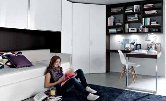 black white Contemporary Teenagers Room