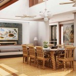 interior design dining room with wooden furniture looks formal and casual