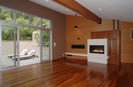 Ashton Kutcher house in Hollywood Hills Los Angeles-fireplace