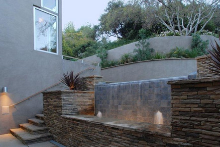 Ashton Kutcher house in Hollywood Hills Los Angeles-waterfall