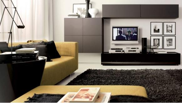 Modern Black Living Room White Designs Tumidei Visi Build