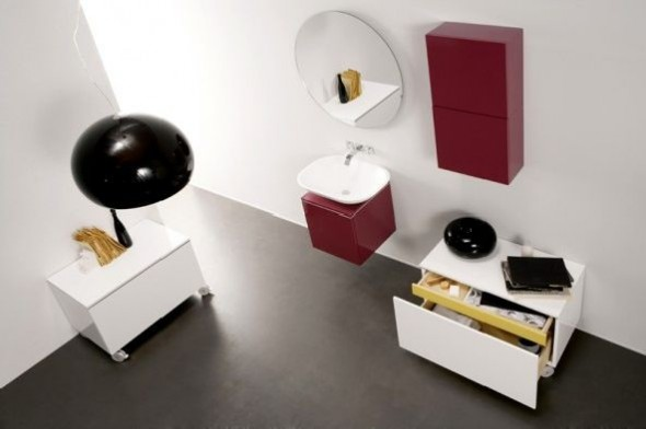 Bathrooms Design Decor Ideas Strato Furniture Red White Storage