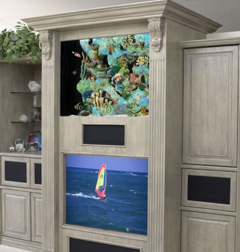 Beautiful Aquarium Design For Living Room Stone Wall Unit