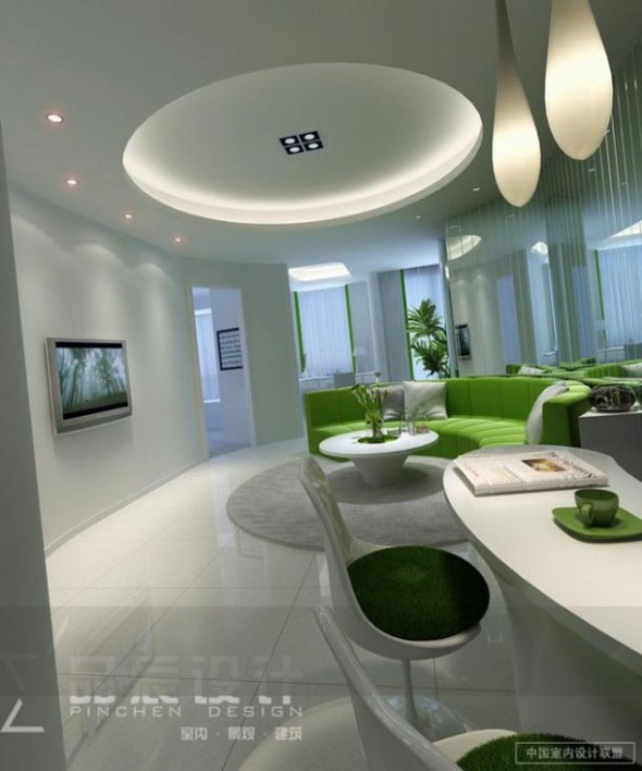Circular Lounge Modern Lighting Lime Green White from Chainese-Style
