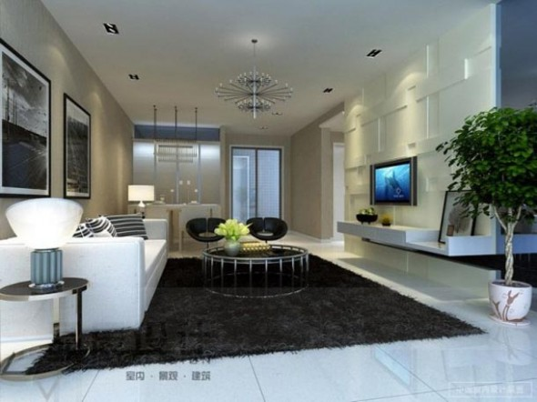 Contemporary Living Room Neutral Shag Rug from Chainese