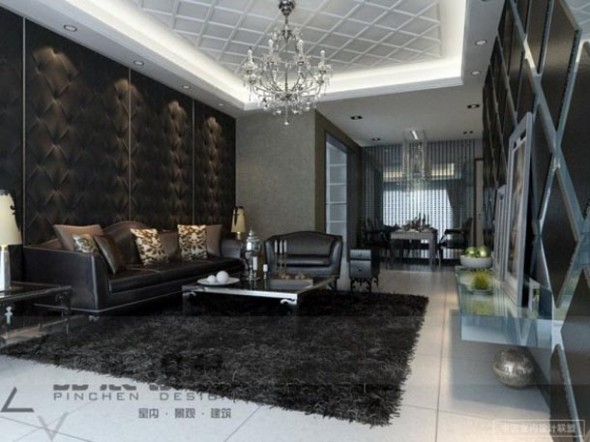 Black and White Living Room Feature Walls
