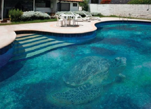 Fascinating Swimming Pool Design with Mosaic Glass Tiles by Glassdecor
