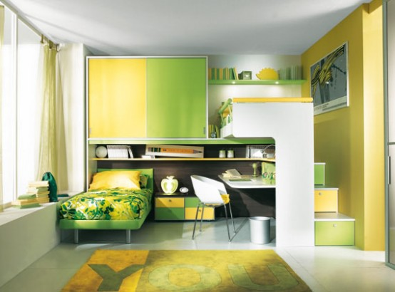 Green And Cream Kids Bedroom Designs And Innovative Bedroom Sets