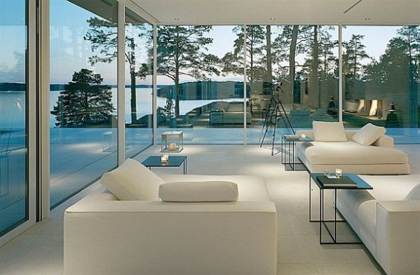 Lavish And Luxurious Swedish Villa Of Hollywood Actor James Bond classy-living-room-white-furniture
