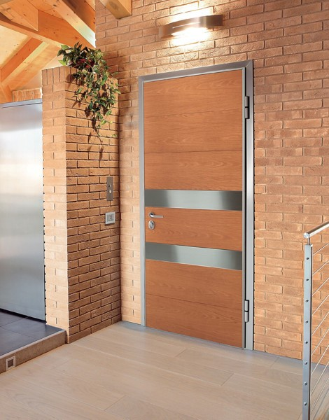 Modern wooden Brown Doors Exterior for Home Designed by Oikos