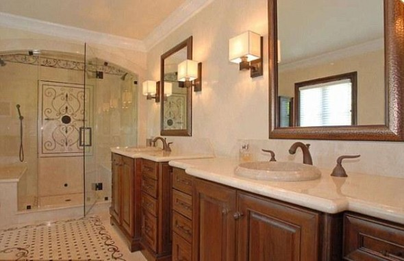 Perfect for two The master bathroom suites has his and her sinks and a shower large enough for two people-Kim Kardashian's