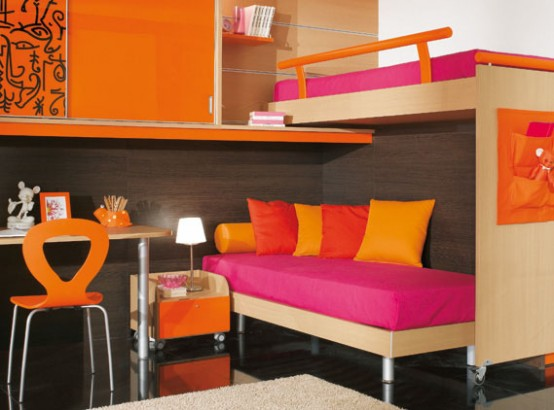 pink and orange kids bedroom furniture designs image pictures