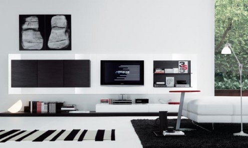 Regolo Stylish And Lavish White Sleek Wall Unit