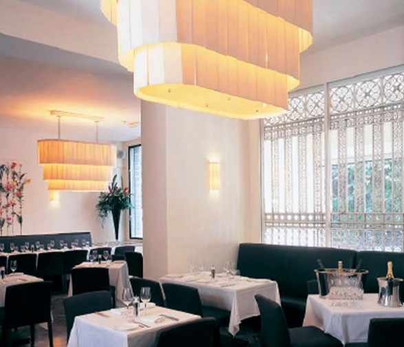 Restaurant Interior Design with Chandelier Goldbrick