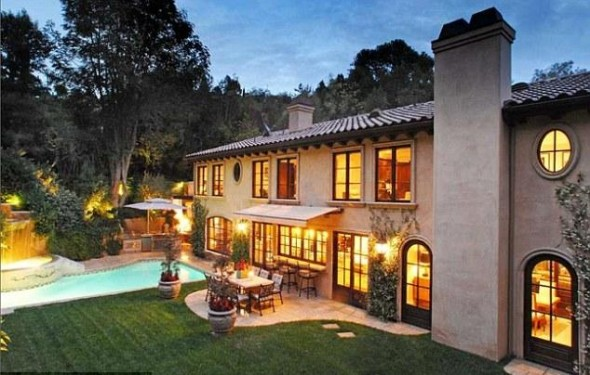 The garden features several patio areas and a good-sized swimming pool-Kim Kardashian's