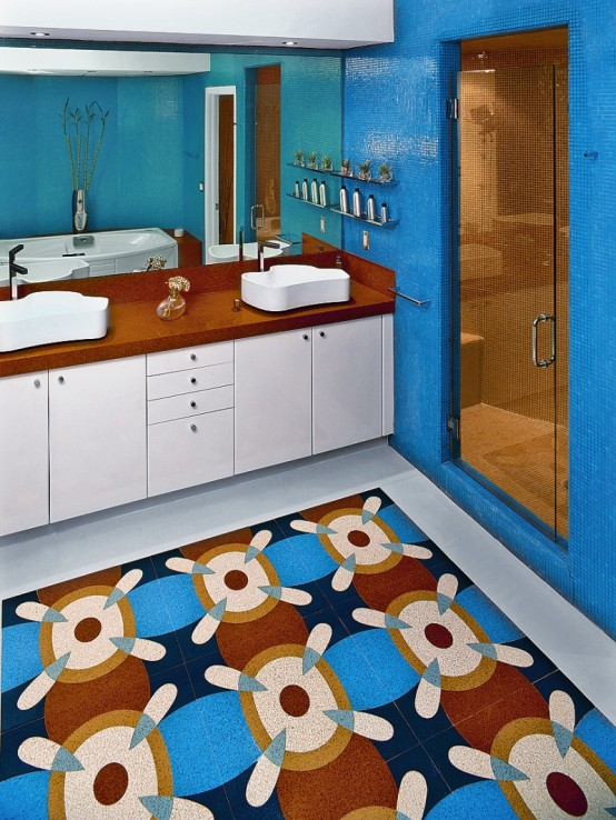 apartment interiors colorful bathroom designs