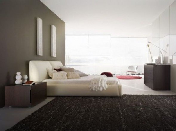 black and white bedroom concept with red accent