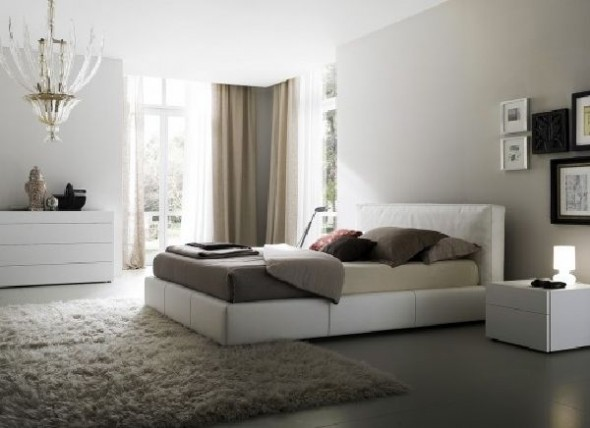 black and white modern bedroom with rug curtain decor