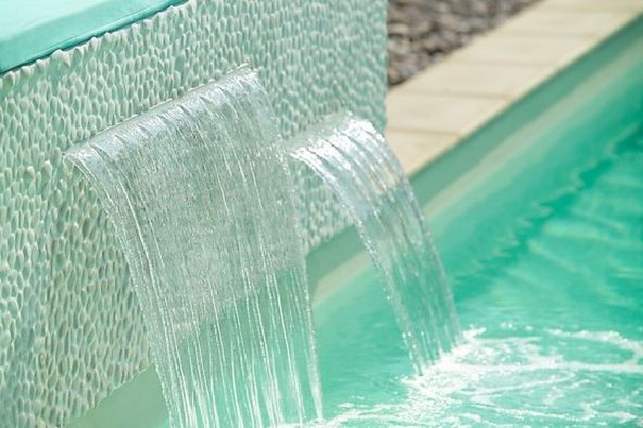charming swimming pool fountain powerfall by zodiac pooclare Designs