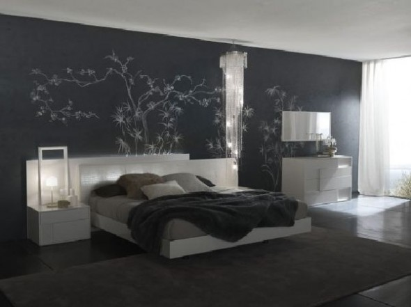 contemporary black and white bedroom with wall art
