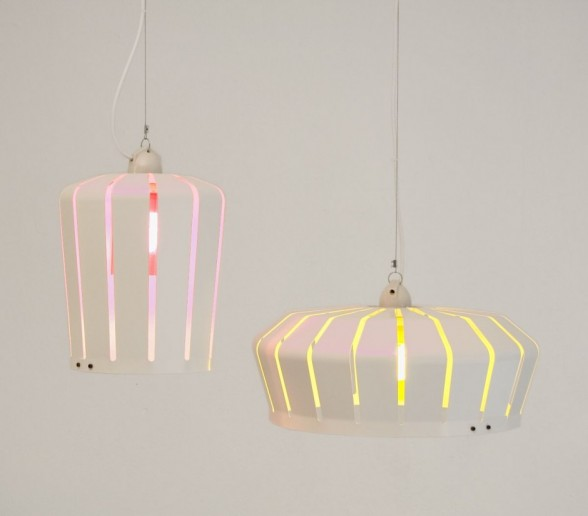 crown pendant lamp in pink and yellow