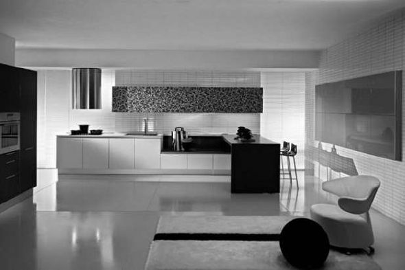 elegan black white kitchen design ideas