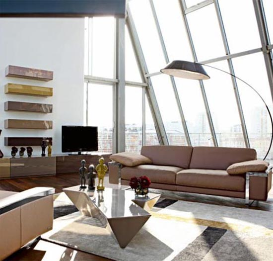 living room city landscape interior