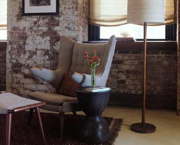 red and gray brick Living room