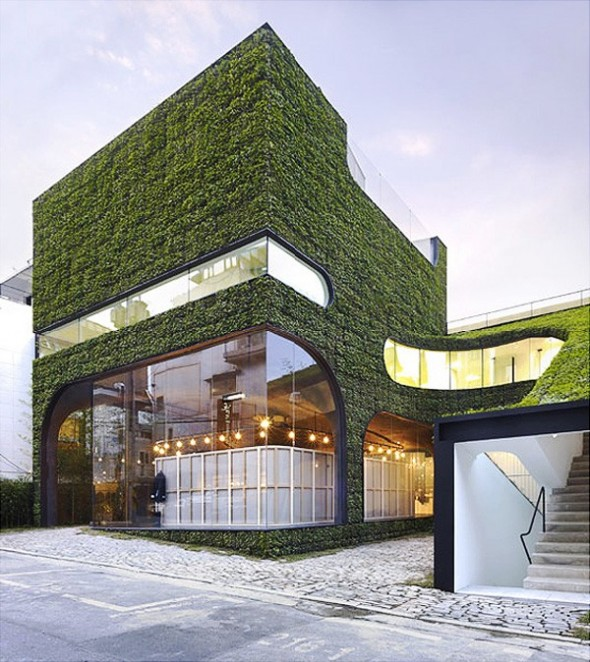Ann Demeulemeester shop in Seoul, designed and implemented by Mass Studies-vertical garden