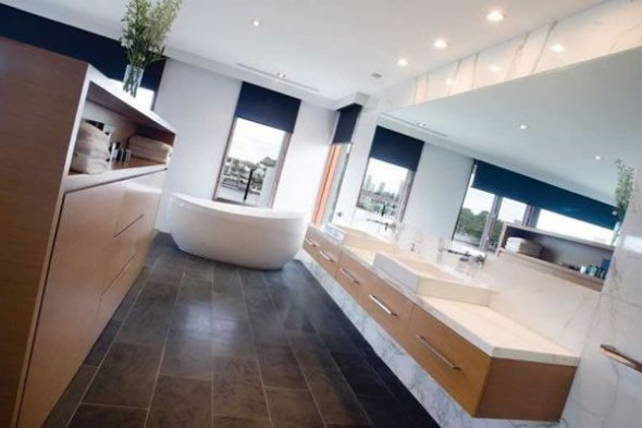 Contemporary Riverfront Residence with Contemporary Home Design Ideas-bathroom