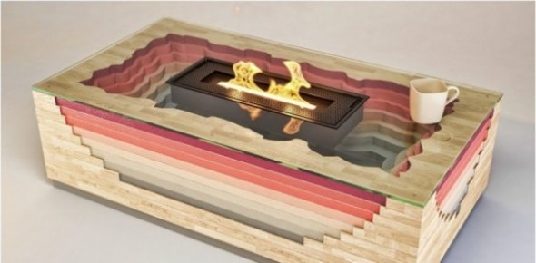 Creative Volcano Fireplace Design with Double Function