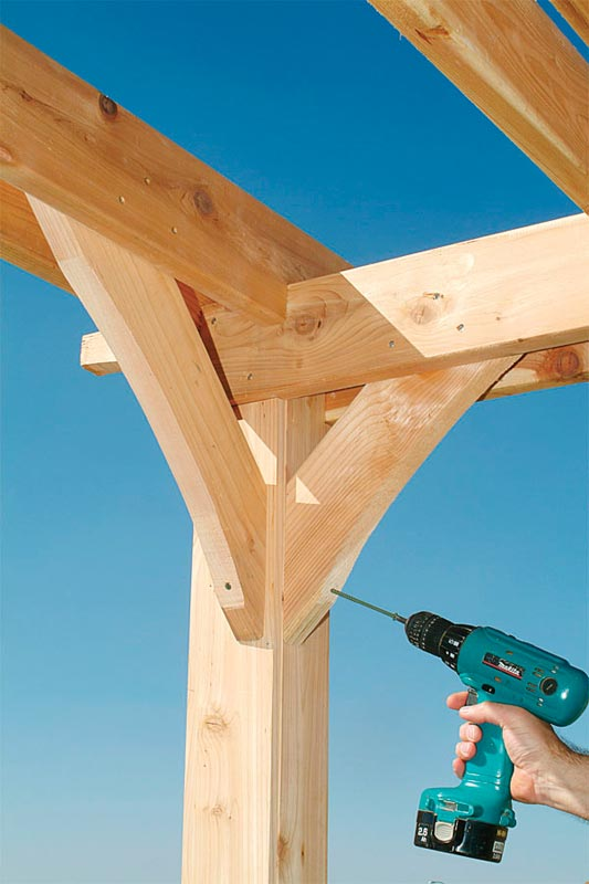 Fasten the braces to the posts and beams with screws (10)-pergola building