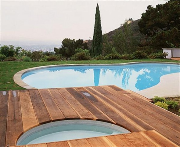 Modern Natural Landscape with Large Swimming Pool