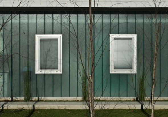 Modern Square House with Two Windows