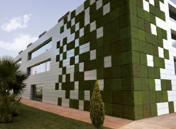 Vertical garden created with modular garden tiles by Spanish firm Cerecasa