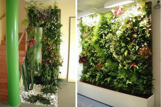 amazing green house with vertical gardens