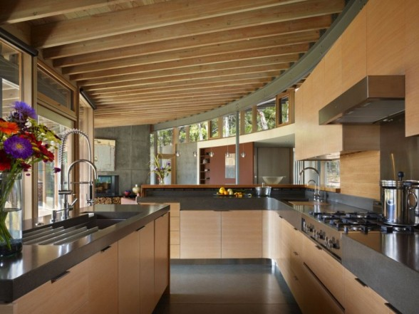 interior design a kitchen with wall and cabinets made of wood in the mix with a furniture kitchen stainles