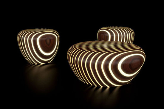 modernchair, Beautiful Modern Wooden Furniture chair with light by Giancarlo Zema