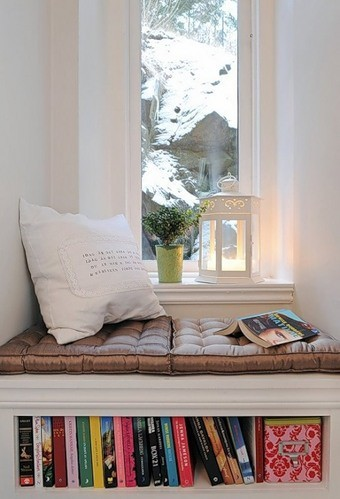 reading nook with inbuilt bookshelf-shelf with a reading nook