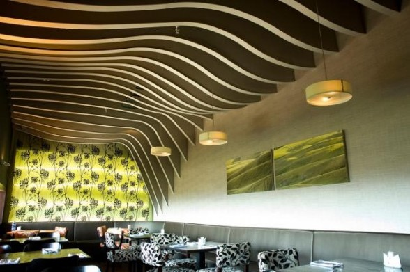 rolling fields ceiling steel contoured structures painted wood-Rosso Restaurant Interior by SO Architecture