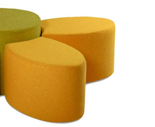 the fiore seating modules may be custom covered in any type of fabric, vinyl or leather