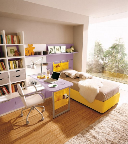 yellow kids bedroom with study room design ideas