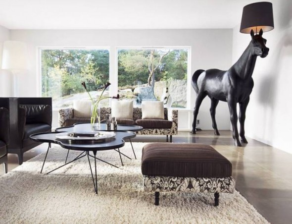 Living Room a Villa With Lamp Horse