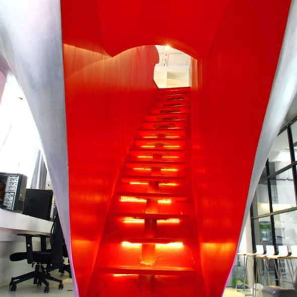 Modern Red Town Office by Taranta Creations