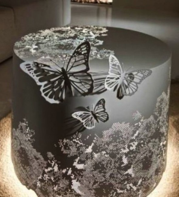 Romantic White Lamp - Etched Butterflies
