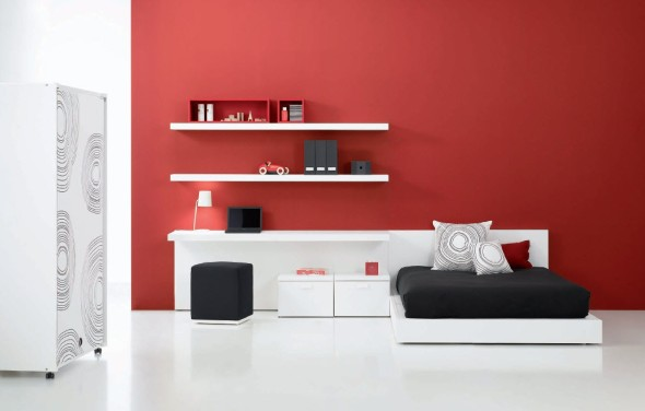 Contemporary Teen Bedroom Decor Ideas by Carlos Tiscar with Red Wall