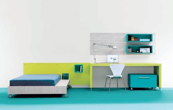 Contemporary Teen Bedroom with blue Decor Ideas by Carlos Tiscar